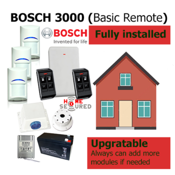 HomeSecured home secured alarm system basic Bosch 3000 pack remote